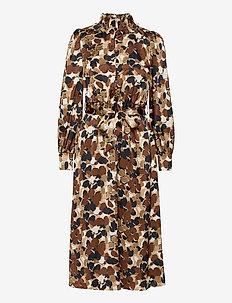 ONLLOLA L/S CALF DRESS WVN - midi kjoler - sand