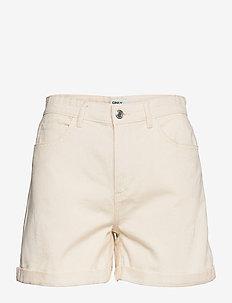 ONLVEGA LIFE HW MOM SHORTS - denim shorts - ecru