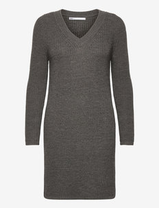 ONLMELTON LIFE L/S DRESS KNT - sommerkjoler - medium grey melange