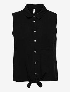 ONLNINA LIFE S/L TIE SHIRT WVN - short-sleeved shirts - black