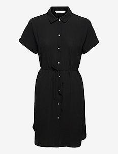 ONLNOVA LUX S/S SHIRT DRESS SOLID WVN 7 - sommerkjoler - black