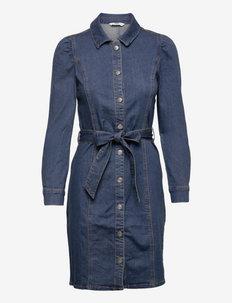 ONLRAMINA VOLOUME BELT DNM DRESS - skjortekjoler - dark blue denim