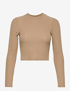 ONLNELLA L/S CROPPED O-NECK TOP JRS - crop tops - toasted coconut