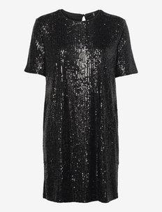 ONLBAE S/S TEE SEQUINS DRESS JRS - paljettklänningar - black