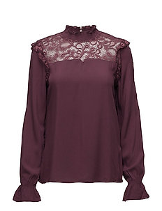 onlKATE HIGH NECK LACE BLOUSE WVN - VINEYARD WINE