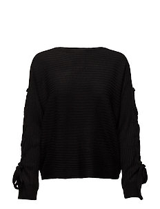 onlPEGA LACE-UP PULLOVER KNT - BLACK