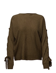 onlPEGA LACE-UP PULLOVER KNT - MILITARY OLIVE