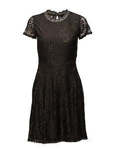 onlMYSTERY LACE S/S DRESS WVN - BLACK INK