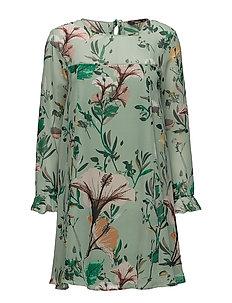 onlDIDA L/S FRILL DRESS WVN - GRANITE GREEN