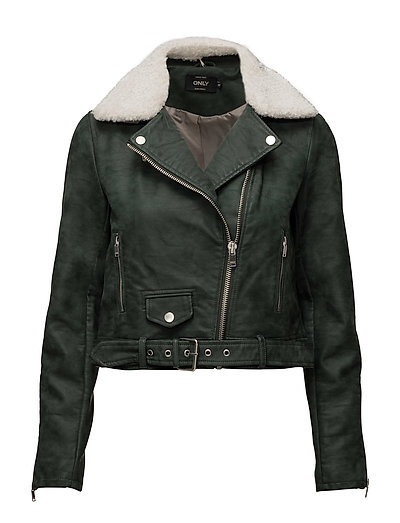 onlDANIELLE FAUX LEATHER BIKER OTW - JET SET