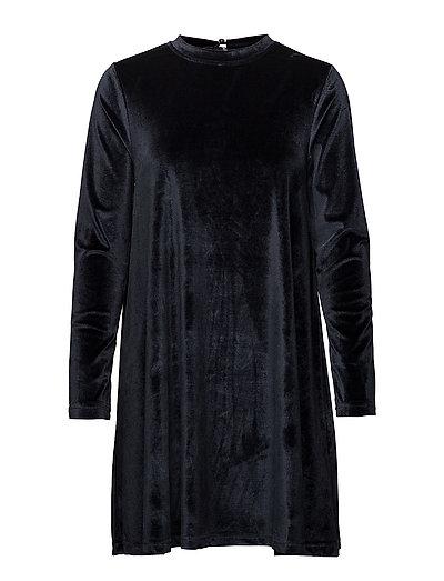 onlODETTE L/S VELOUR DRESS JRS - BLUE NIGHTS