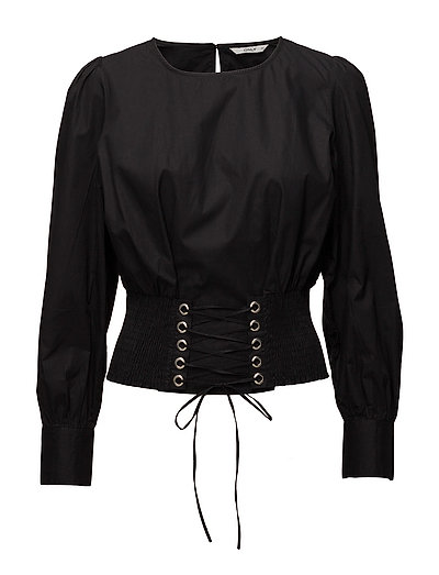 onlSMOCK LACE UP SHIRT WVN - BLACK