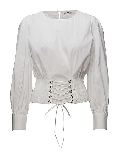 onlSMOCK LACE UP SHIRT WVN - WHITE