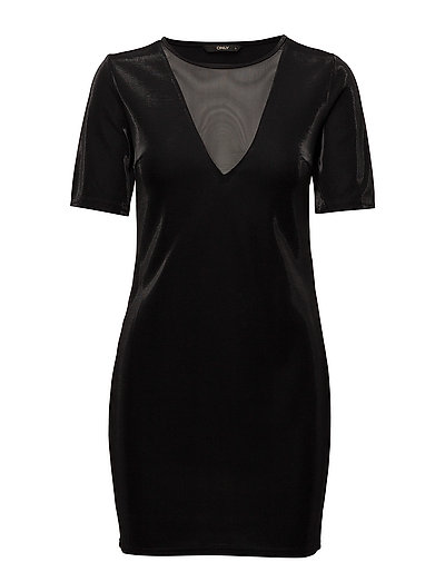 onlCADDY SHINY S/S DRESS JRS - BLACK