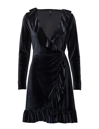 onlBELLA VELOUR L/S FRILL DRESS JRS - DARK NAVY