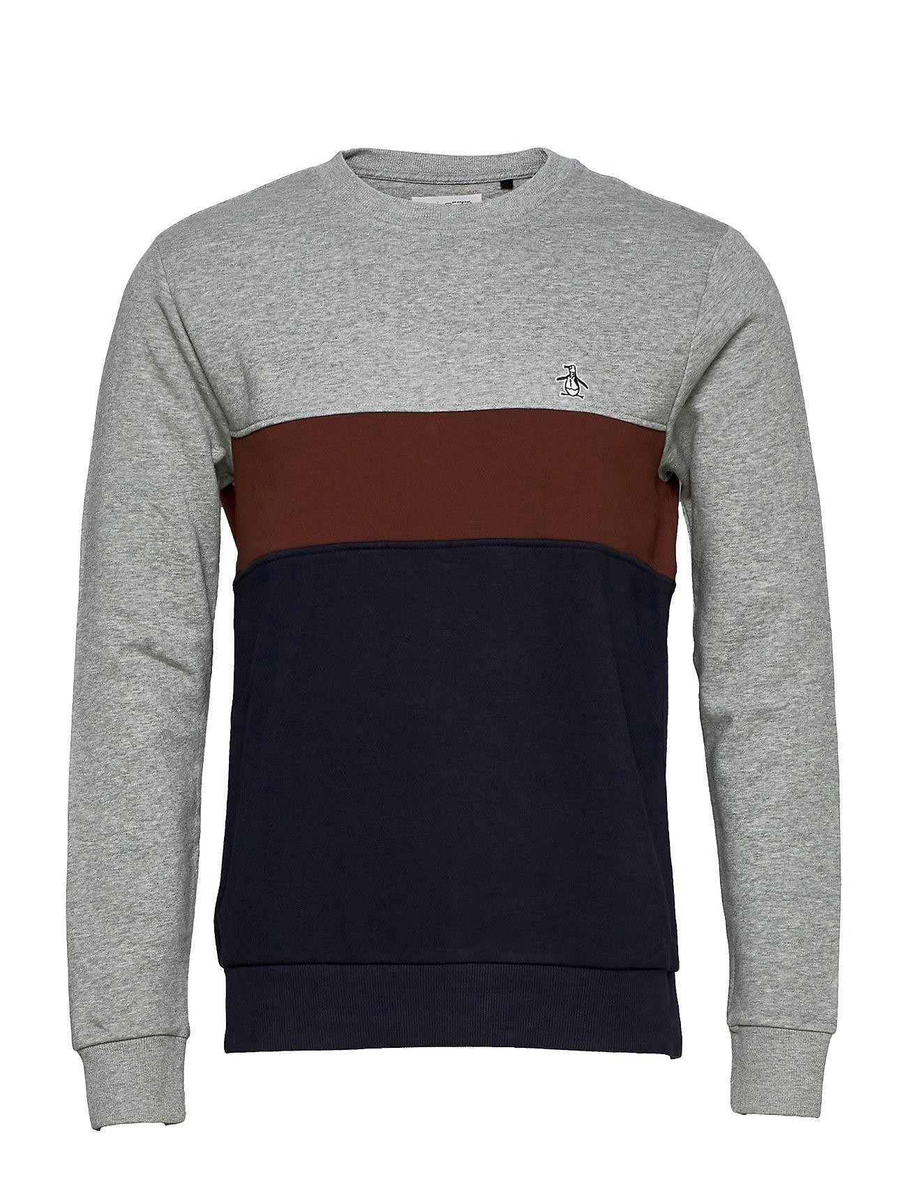 Colour Block Sweatshirt Sweatshirt Trøje Grå Original Penguin