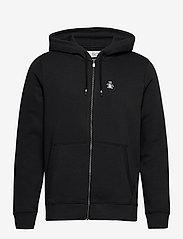 Original Penguin - ZIP THROUGH SMALL LOGO HOODIE - basic sweatshirts - true black - 1