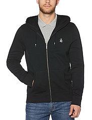 Original Penguin - ZIP THROUGH SMALL LOGO HOODIE - basic sweatshirts - true black - 0