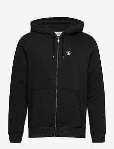 ZIP THROUGH SMALL LOGO HOODIE - basic sweatshirts - true black
