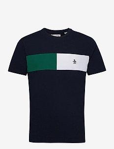 COLOUR BLOCK CHEST STRIPE T-SHIRT - t-shirts à manches courtes - dark sapphire