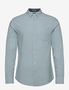 SLIM FIT COTTON OXFORD STRIPED SHIRT - basic skjorter - oil blue