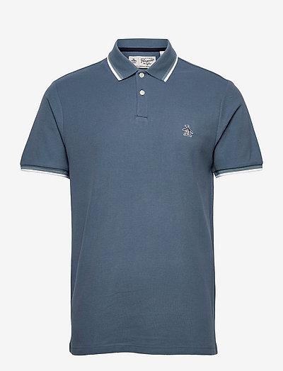 TIPPED COLLAR POLO SHIRT - kortärmade pikéer - copen blue