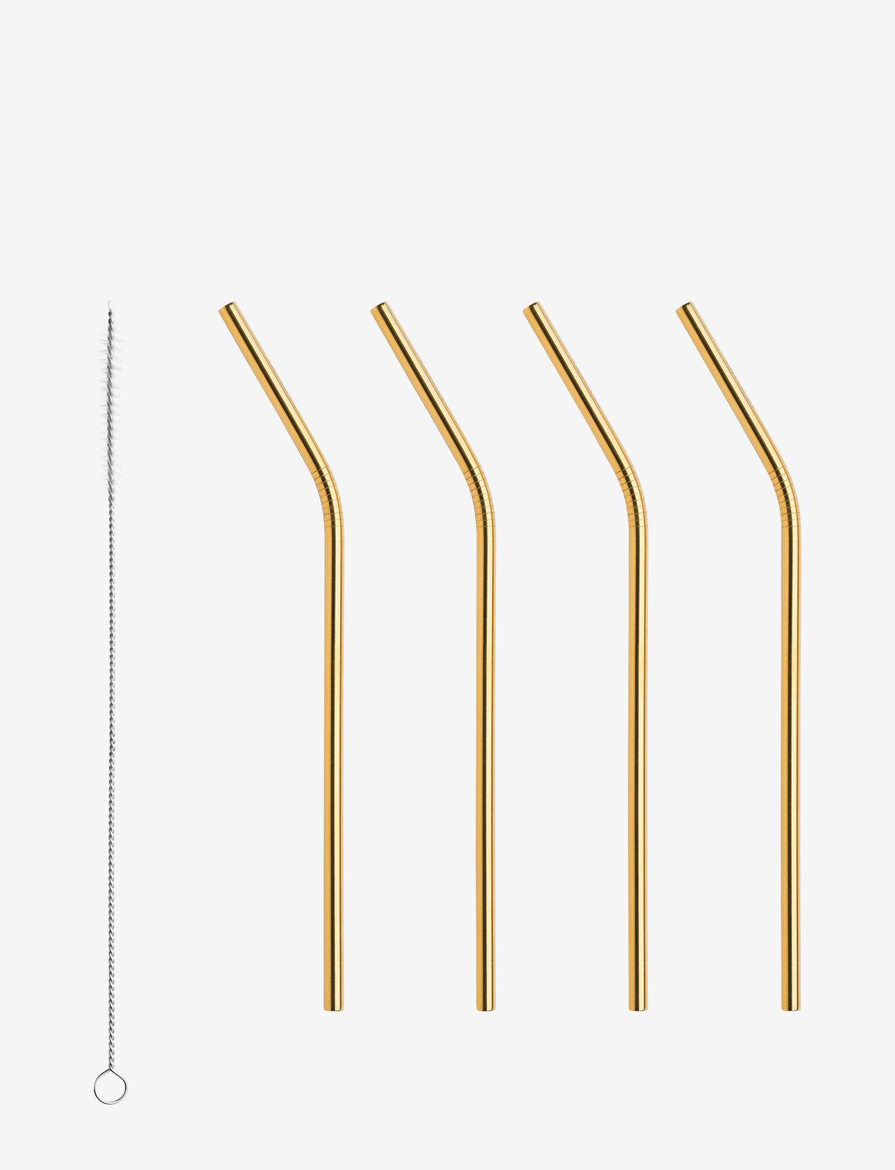 Orrefors - PEAK Straws 4-PACK incl. cleaning brush - shop etter pris - gold - 0