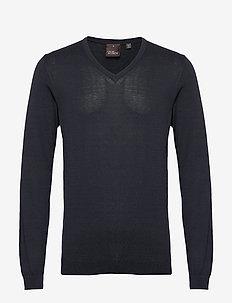 Uno V-neck - basic knitwear - 211 - navy
