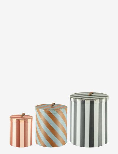 Storage Box - Round - Stripe - Set of 3 - säilytys - multi