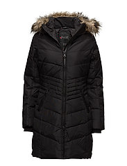 BROOKLYN LADIES FAUX FUR PARKA - BLACK