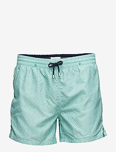 Meander - swim shorts - green holiday