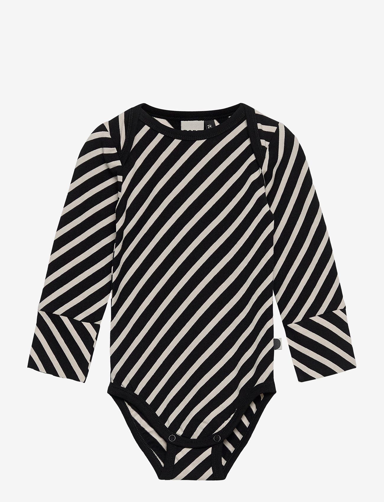 Papu - STRIPE BODY BABY - langärmelig - black, sand - 0