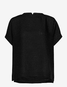 Linen shirt - short-sleeved blouses - black