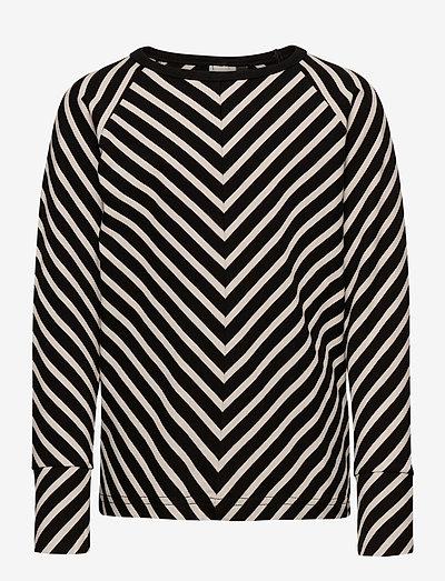 STRIPE SHIRT KID - sweatshirts - black, sand