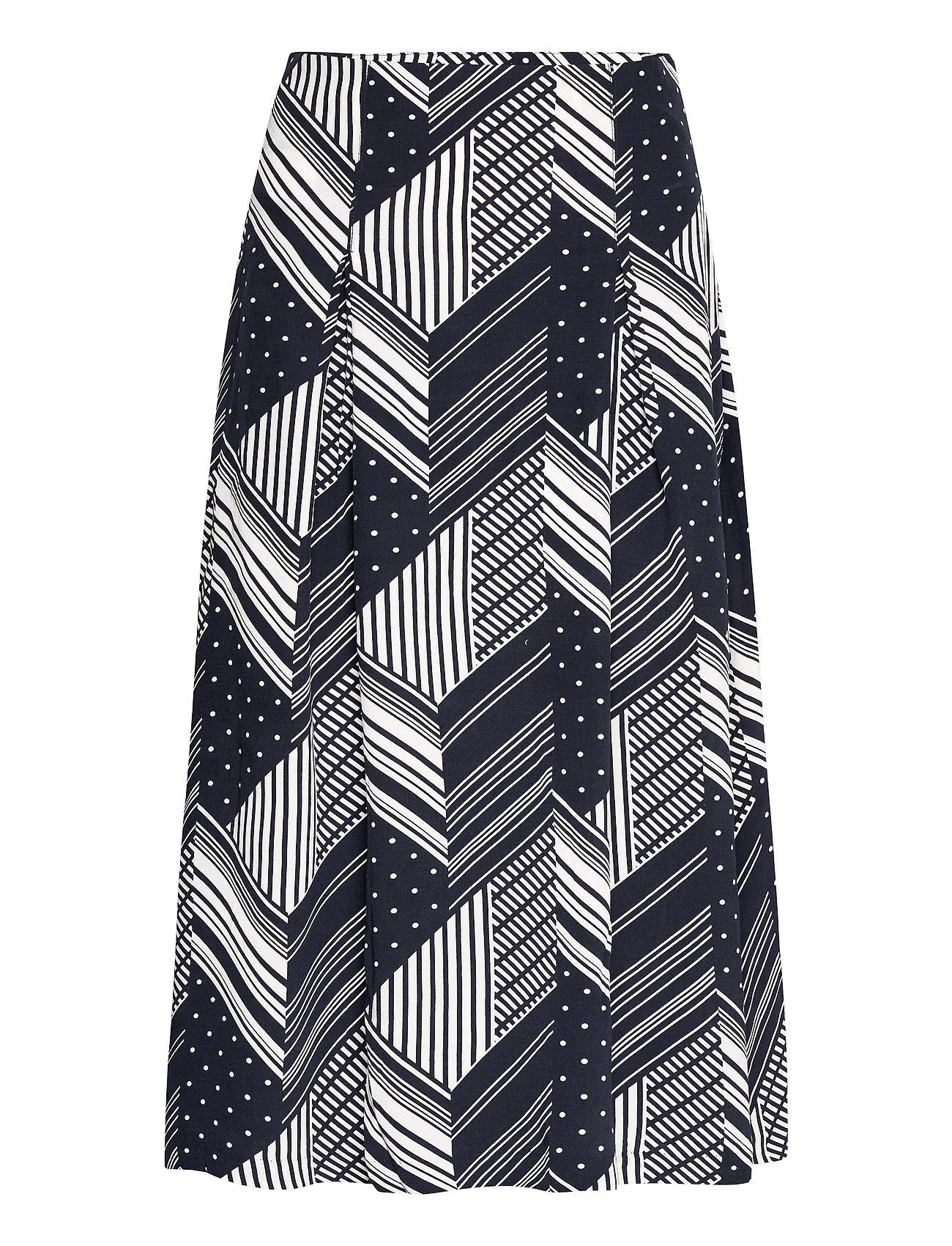Skirt Printed Knælang Nederdel Blå Park Lane