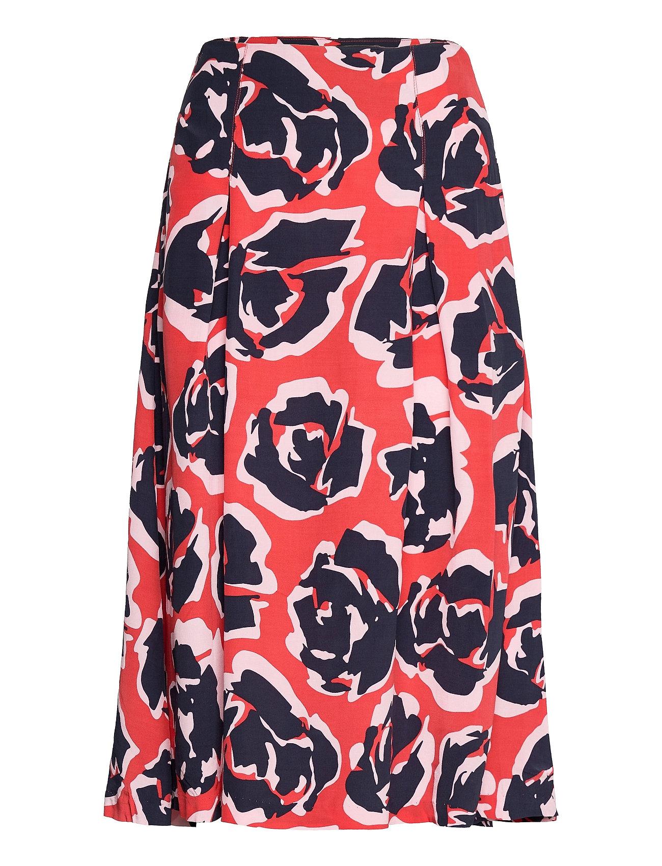 Skirt Printed Knælang Nederdel Rød Park Lane