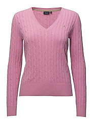 Cable pullover V-neck - 411 PINK