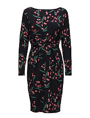 Dress draped printed - NAVY PATTERN