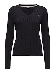 Cable V-neck pullover - NAVY