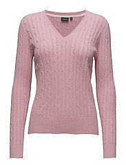 Cable V-neck pullover - PINK