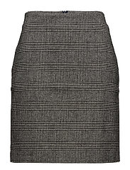 Skirt, wool check - GREY