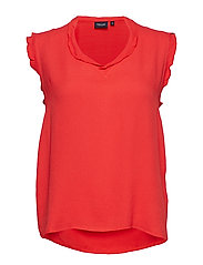 Top, sleeveless - RED