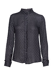 Pleat blouse - NAVY DOT
