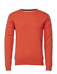 Cable pullover R-neck - BRICK