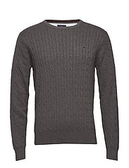 Cable pullover R-neck - CHARCOAL