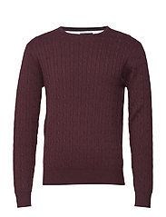 Cable pullover R-neck - WINERED