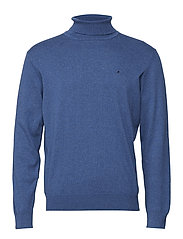 Basic flat knit rollneck - DENIMBLUE