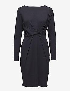 Dress draped printed - midiklänningar - navy
