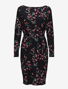 Dress draped printed - midiklänningar - navy pattern