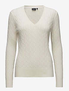 Cable V-neck pullover - OFFWHITE
